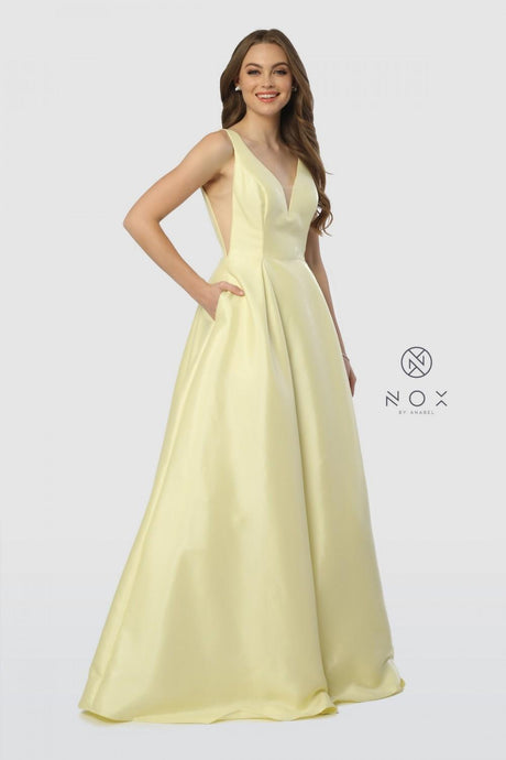 N E156 - Satin Ballgown with Mesh Cutouts and Side Pockets