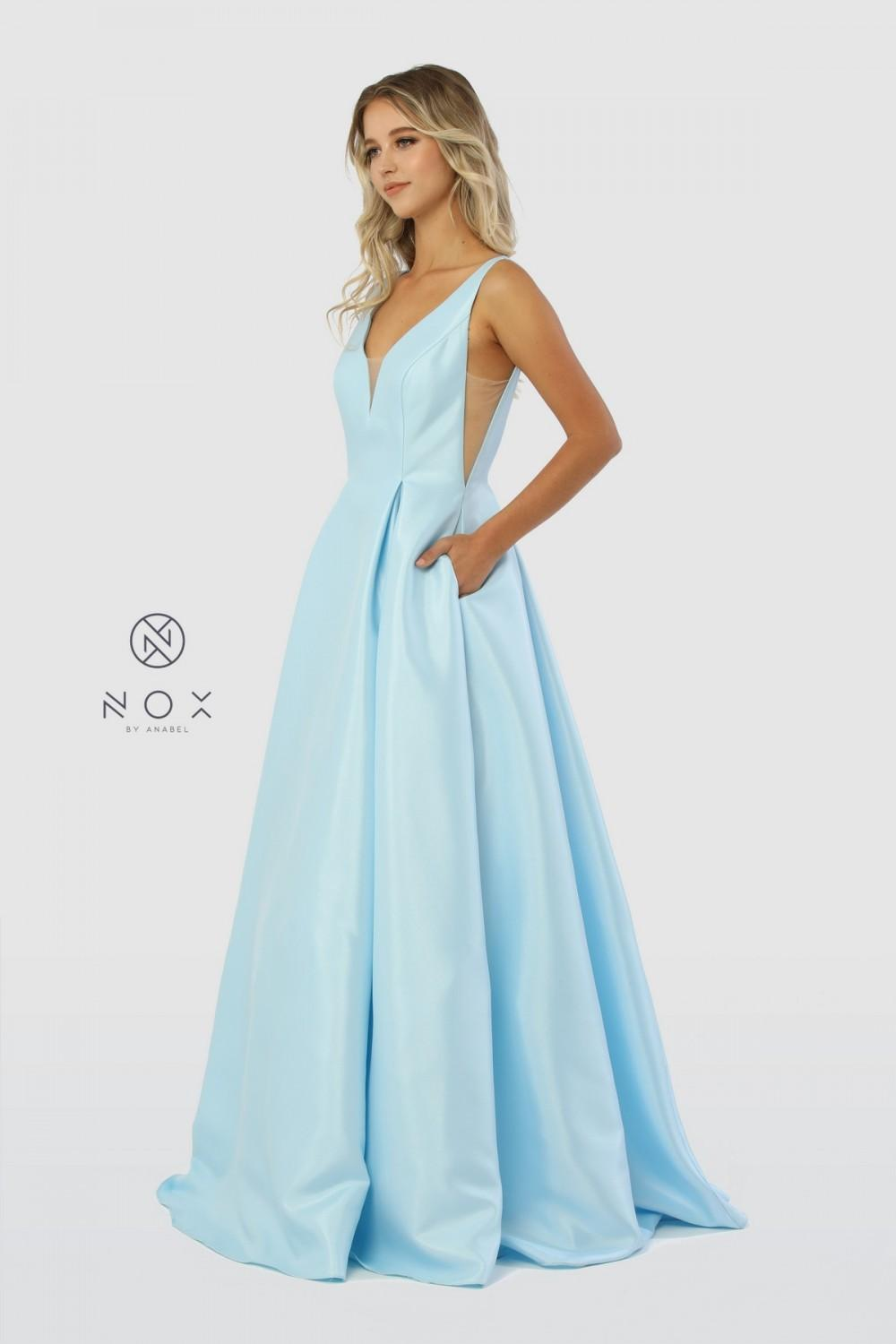 Nox N E156 - Satin V-Neck Ballgown with Pleated Skirt Sheer Cut-out Sides Open Back & Pockets - Diggz Prom