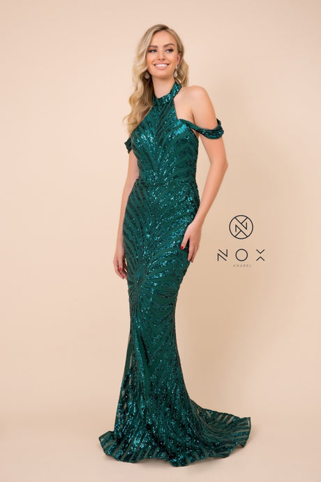 N E377- off the shoulder halter open back mermaid fit prom gown with sequin embellishments