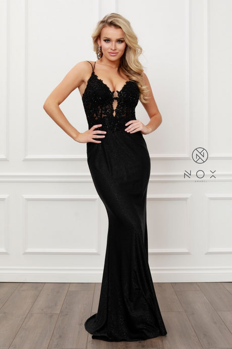 N E451 - Metallic Fit & Flare Prom Gown with Lace & Bead Embellished Sheer Bodice & Open Lace Up Corset Back - Diggz Prom