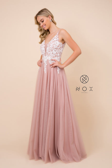 Nox N G048 - Floral Embroidered A-line Prom Gown with Open Back - Diggz Prom