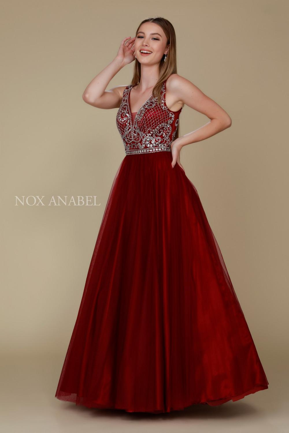 N G087 - Tank Style Embroidered Tulle Ballgown
