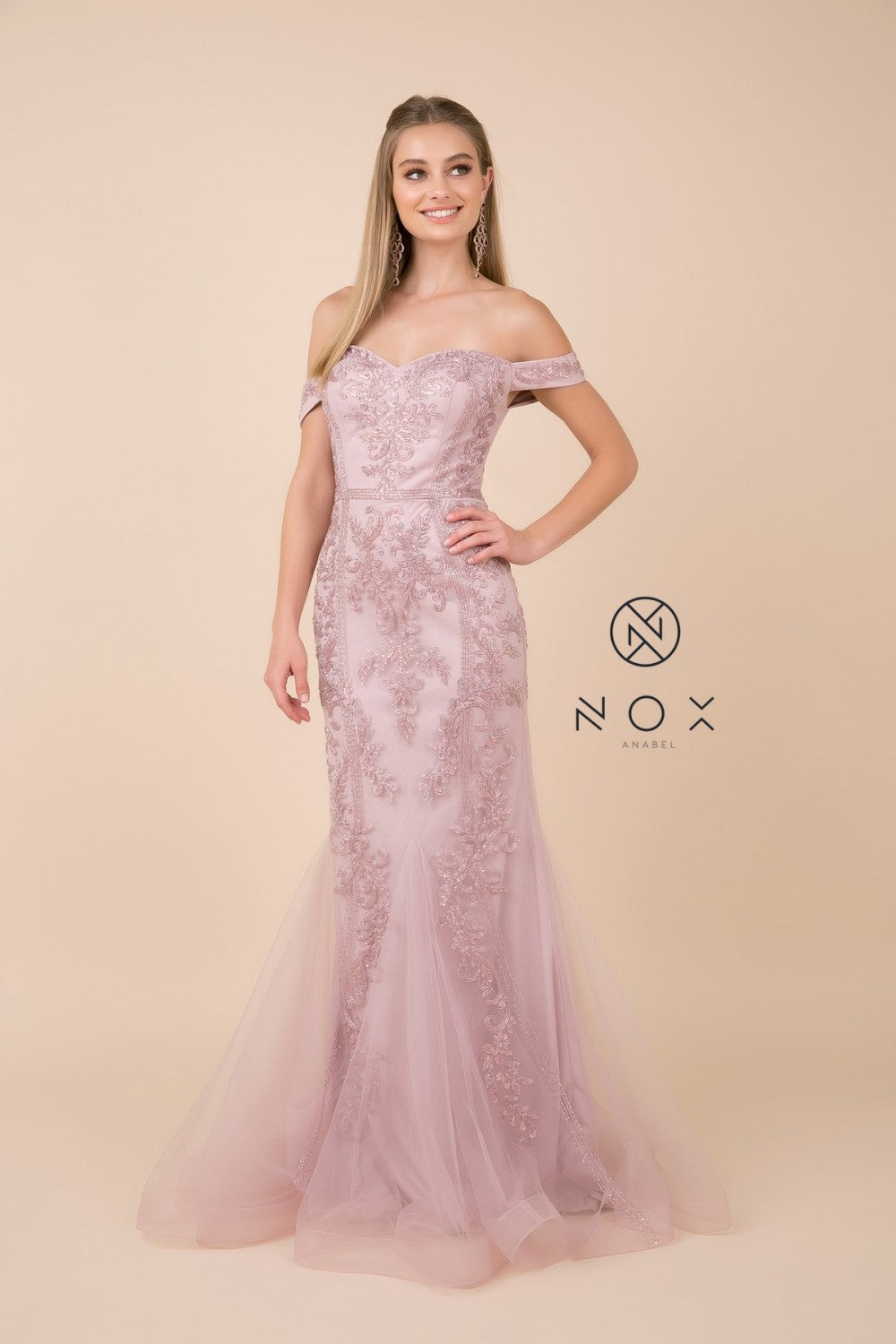 Nox N H294 - Fully Beaded Off The Shoulder Sweetheart Neck Fit & Flare with Tulle Skirt - Diggz Prom