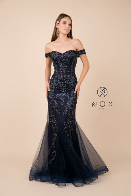 N H294 - Fully Beaded Off The Shoulder Sweetheart Neck Fit & Flare with Tulle Skirt