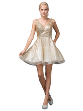 DQ 3178 - Sequins V-Neck Homecoming Dress Sheer Sides Rhinestone Belt & Low Cut Open Back - Diggz Prom