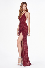 CD CDS345 - Fit & Flare Sequin Prom Gown with Pleated Waist Lace Up Corset & Leg Slit - Diggz Prom