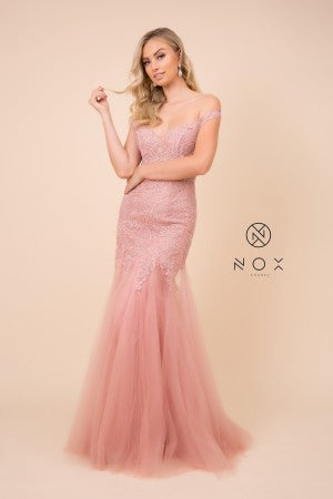 N J325 - Bead & Embroidered Off The Shoulder Mermaid Prom Gown with Sweetheart Neck & Layered Tulle Skirt - Diggz Prom