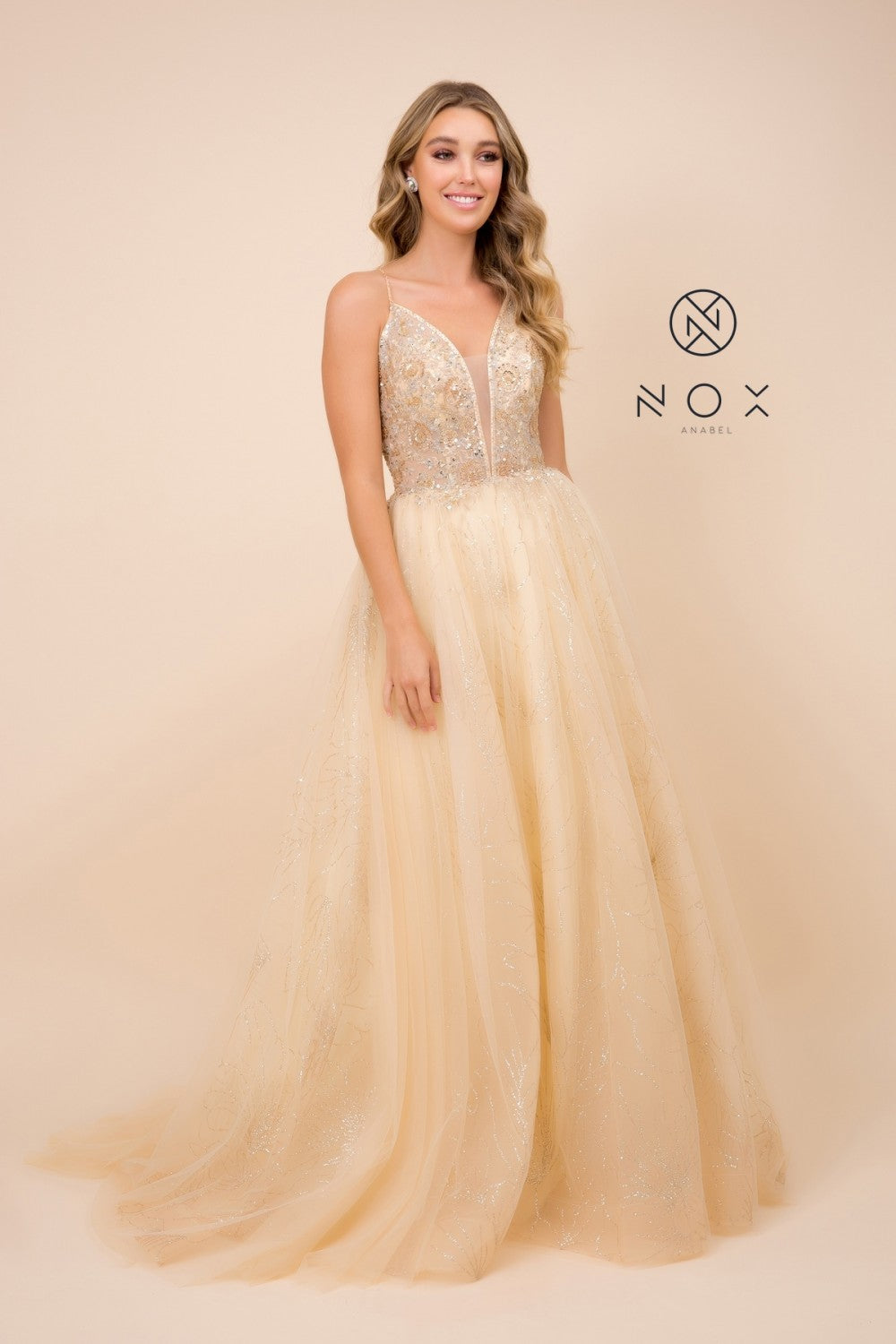 Nox N J411 - Tulle Glitter Ballgown with Beaded Illusion Bodice and - Diggz Prom