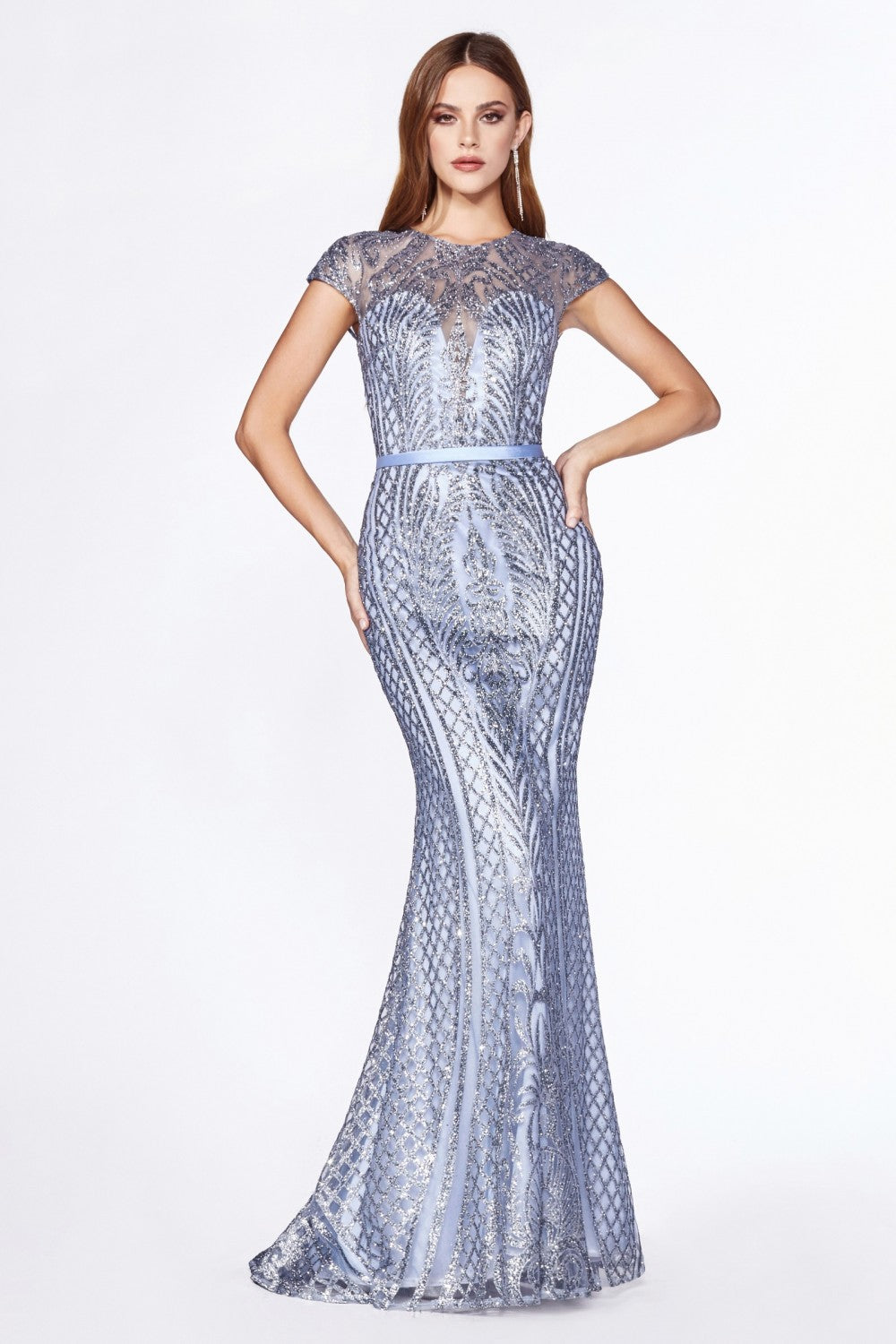 CD J768 - Art Deco Printed Glittery Fit & flare Prom Gown With High Neck Cap Sleeves & Closed Back - Diggz Prom