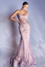 CD J810 - Metallic Embroidered Lace FIt & Flare with Sheer Corset Bodice V-Neck & Spaghetti Straps - Diggz Prom