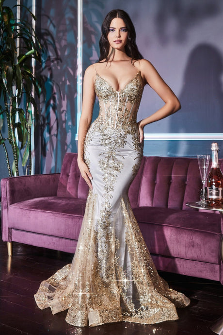 CD J810 - Metallic Embroidered Lace FIt & Flare with Sheer Corset Bodice V-Neck & Spaghetti Straps
