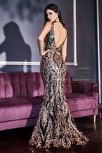 CD J811 - Fit & Flare Prom Gown with Glitter Lace Print & Low Open Back