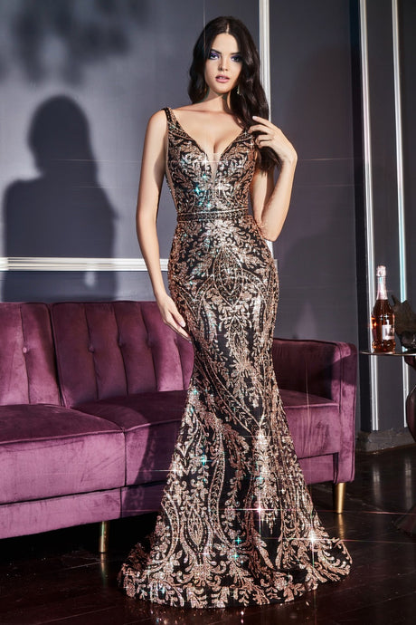 CD J811 - Fit & Flare Prom Gown with Glitter Lace Print & Low Open Back - Diggz Prom