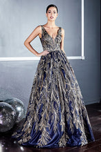 CD J812 - Navy Satin with Gold Glitter Print Ball Gown with V-Neck & Open Back - Diggz Prom