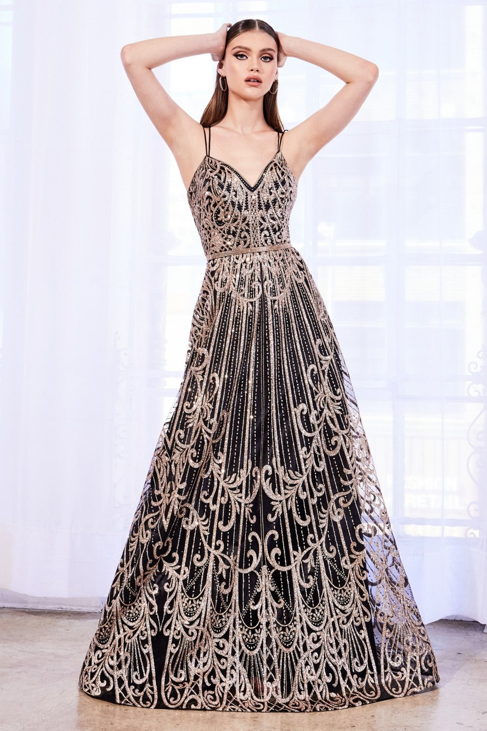 CD J9790 - A Line Prom Gown with Glitter Print Design & Beaded Belt - Diggz Prom