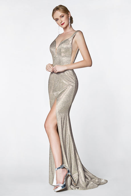 CD KC876 - Fit & Flare Prom Gown with Glitter Finish and High Leg Slit - Diggz Prom
