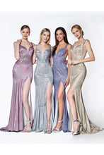 CD KC876 - Fit & Flare Prom Gown with Glitter Finish and High Leg Slit