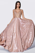 Cinderella Divine Chart I CD KC879 - A-Line Glitter Gown with Beaded Top & Metallic Fabric - Diggz Prom