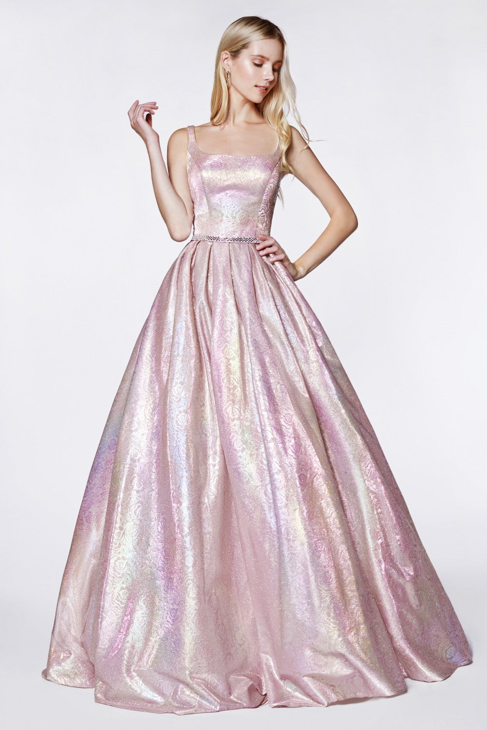32291804fe478 CD KC 880 - Metallic holograohic floral ball gown with illusion sides and  pockets