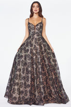 CD KC893 - Ball Gown with Black Lace over Luminous Iridescent Fabric with a Sheer Illusion Deep V-Neck & Open Back - Diggz Prom