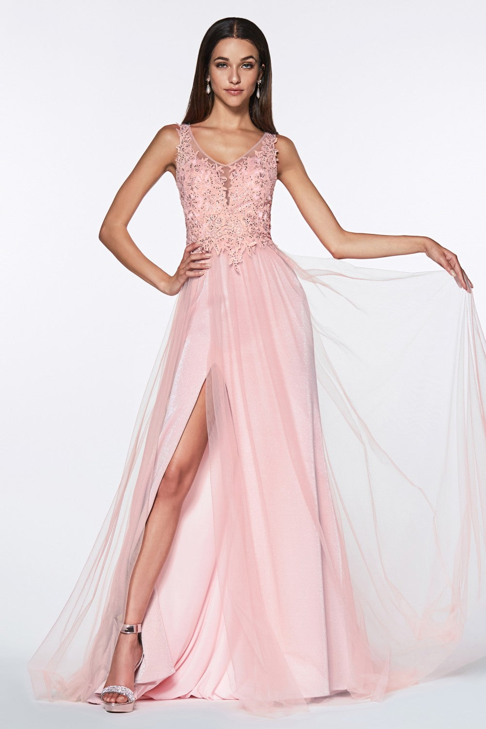 Cinderella Divine Chart I CD KV 1040 - A-Line Tulle Gown with Jeweled Lace Bodice & Leg Slit - Diggz Prom