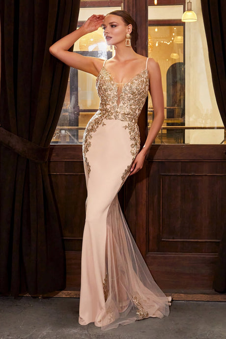 CD KV1054 - Fit & Flare Prom Gown with Embroidered Lace Bodice & Tulle Sides