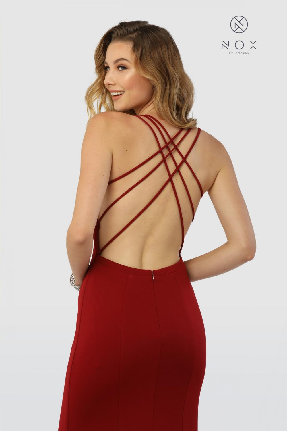 4e27ae1ca71 N M133 - Jersey Gown with Strappy Back and High Slit – Diggz Prom