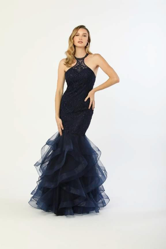 N M189 - High Neck Mermaid Gown with Tulle Bottom - Diggz Prom