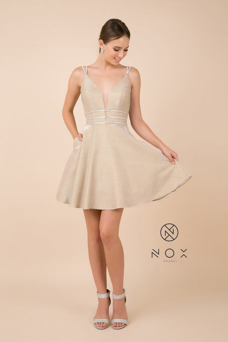 Nox N M684 - Short Deep-V Metallic Homecoming Dress with Jeweled Bands - Diggz Prom