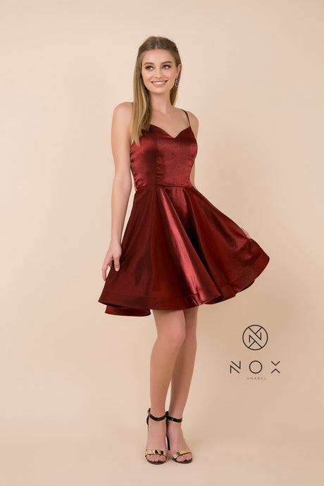 N M689 - Short A-Line Homecoming Dress with Spaghetti Straps and Open Corset Back
