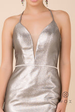 N M690 - Short Deep-V Fitted Metallic Homecoming Dress with Beaded Belt and Corset Back
