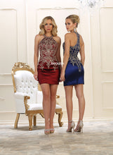 Mayqueen Size Chart E MQ 1576 - Halter with Embroidered Applique Form Fitted Short Dress - Diggz Prom