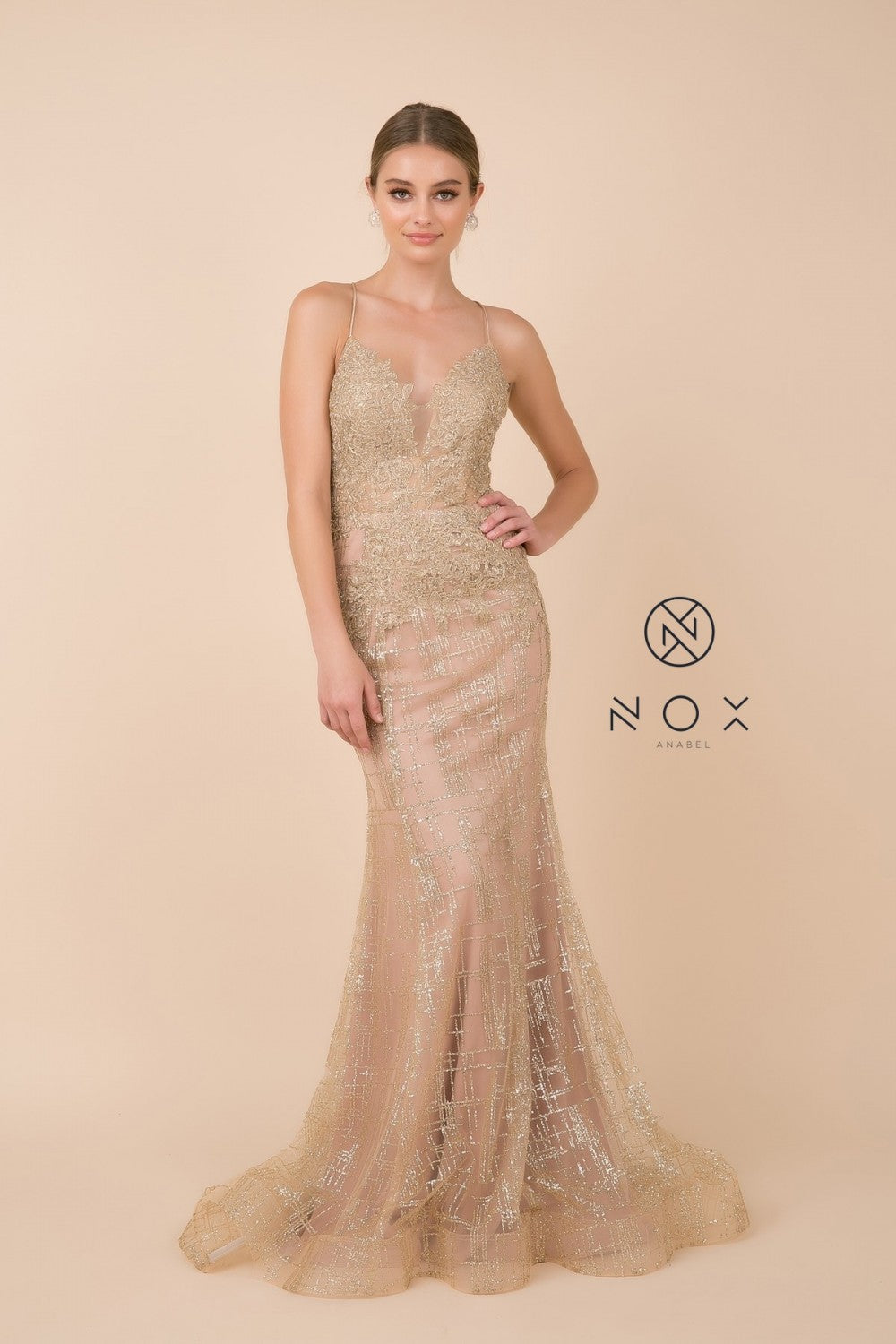 N R282 - Fit & Flare Prom Gown with Spaghetti Straps Lace Top Open Corset Back & Train