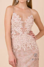 Nox N R282 - Fit & Flare Prom Gown with Spaghetti Straps Lace Top Open Corset Back & Train - Diggz Prom