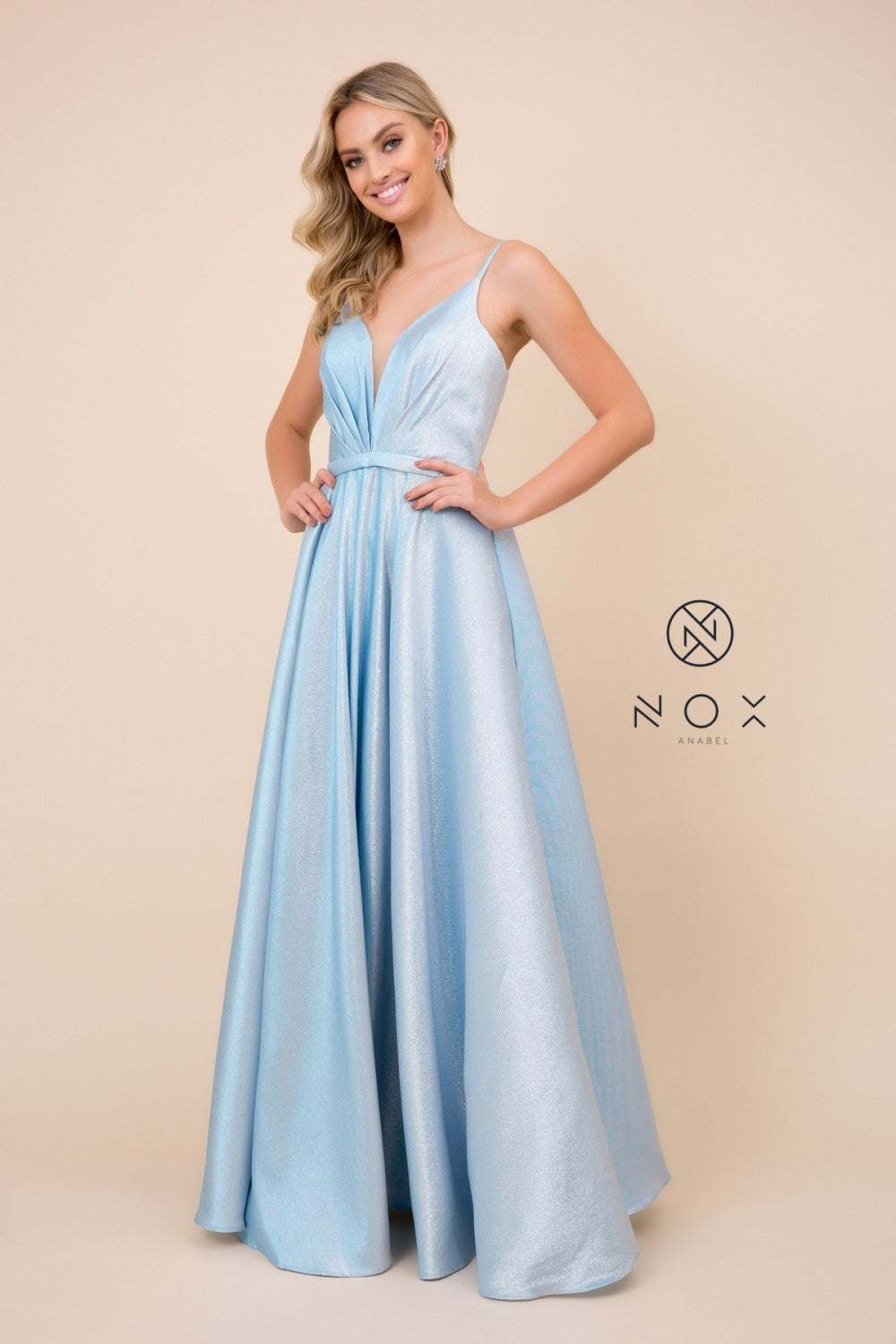 Nox N R347 - Metallic A-line Ballgown with Plunging Pleated V-Neck Bodice - Diggz Prom