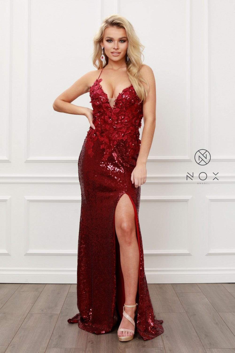 N R429 - 3D Floral & Bead Embellished Sequin Fit & Flare Prom Gown with V-Neck Open Lace Up Corset Back & Leg Slit - Diggz Prom