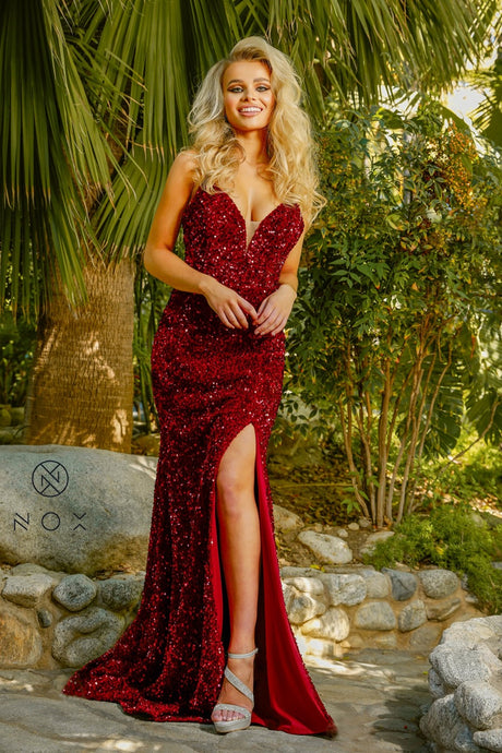 N R433 - Full Sequin Fit & Flare with Deep V-Neck Open Lace Up Back & Leg Slit - Diggz Prom