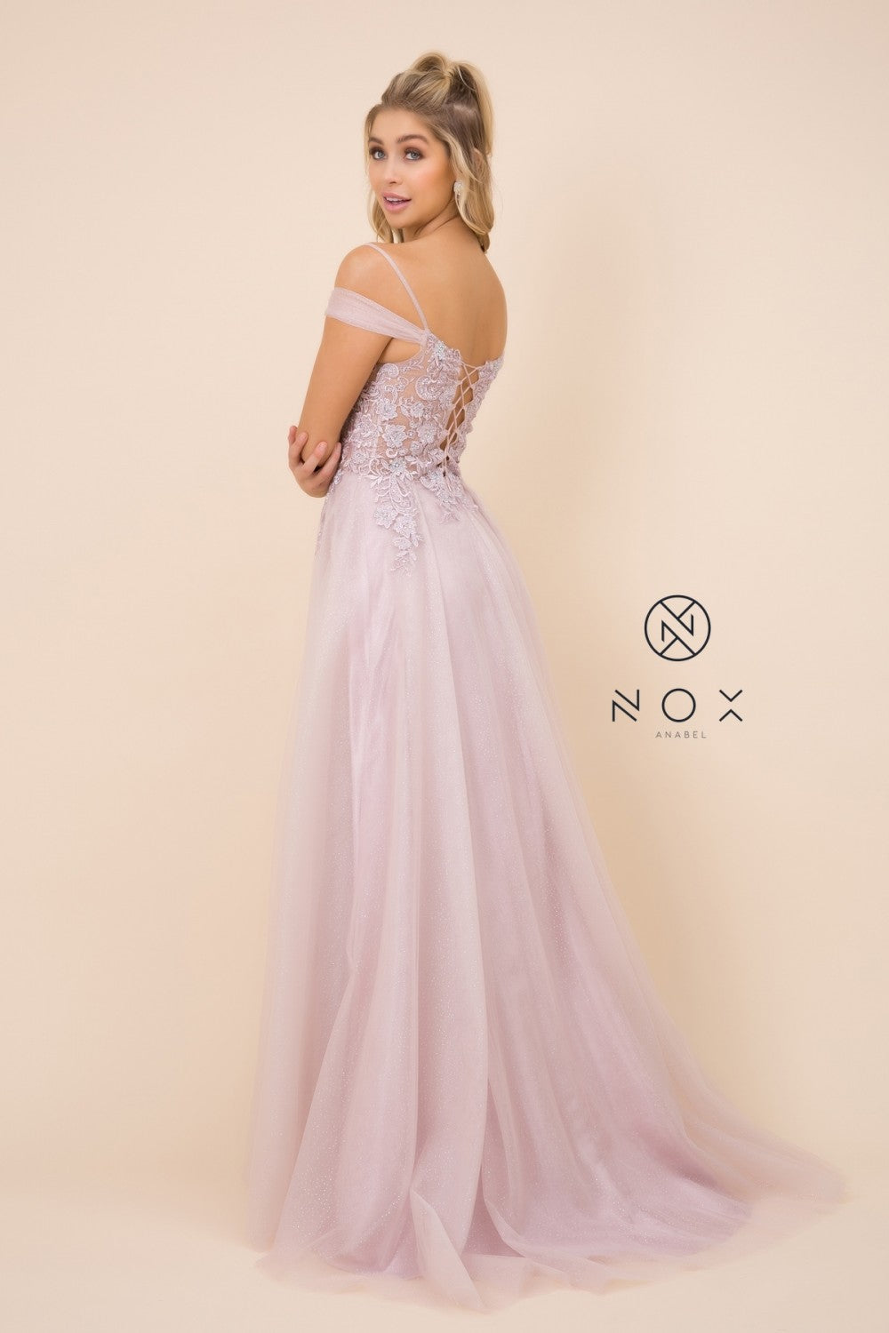 Nox N S265 - Cold Shoulder A-Line Ballgown with Sheer Floral Embroidered Bodice & Corset Back - Diggz Prom