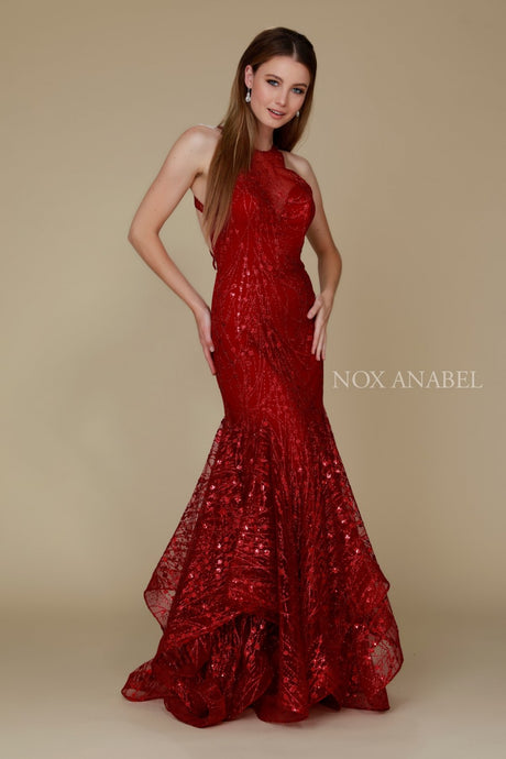 N T153 - Glitter Tulle Fit & Flare with Illusion Sweetheart Neck Criss-Cross Strappy Open Back & Layered Skirt - Diggz Prom
