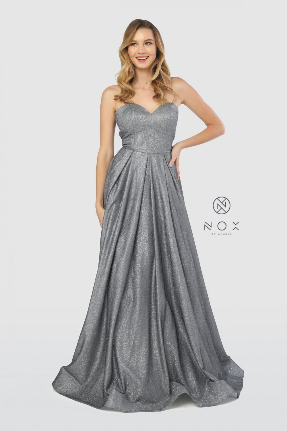 Nox N T258 - Strapless Metallic Gown with Corset Back - Diggz Prom