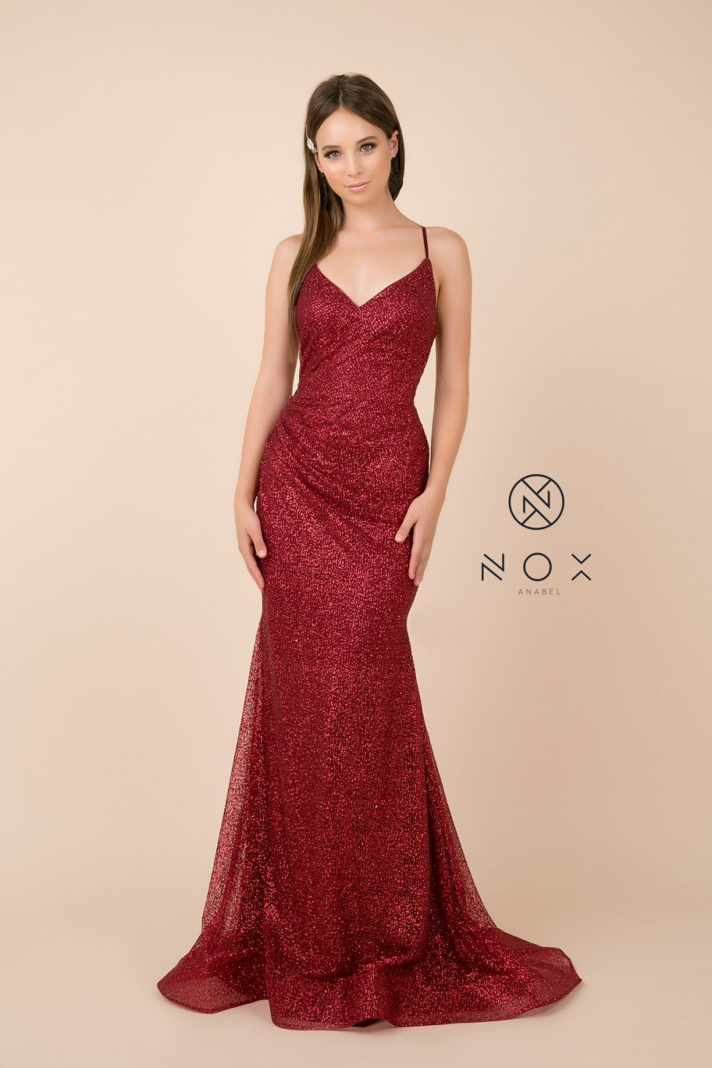 N T290 - Glitter Metallic Fit & Flare with V-Neck Gathered Front & Lace Up Corset Back - Diggz Prom
