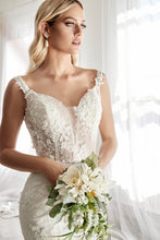 CD TY01 - Mermaid Wedding Gown with Floral Applique & Off the Shoulder Straps