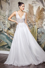 CD TY12 - A Line Wedding Gown with V-Neck Embellished Sequin Lace Bodice & Chiffon Skirt