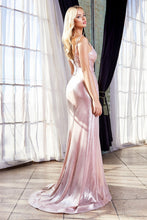 CD UV007 - Fitted Metallic Lame' Prom Gown with Leg Slit & Pleated Bodice - Diggz Prom