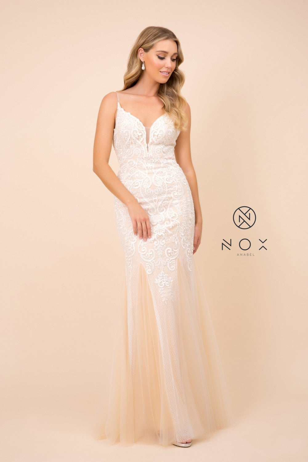 Nox N W903 - Delicate Mermaid Tulle Gown with Draped Lace Detail and Low Back - Diggz Prom