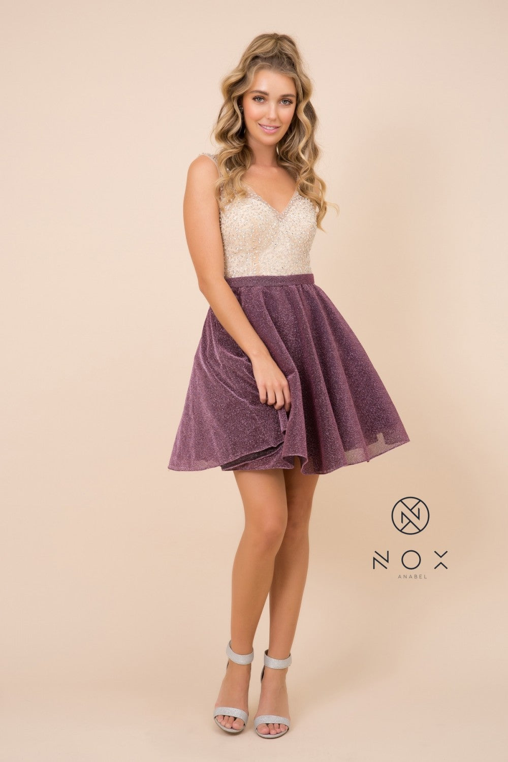 N Y692 - Short Homecoming A-Line Gown with Metallic Glitter Skirt & Beaded Bodice - Diggz Prom