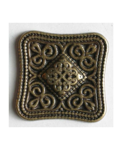 Square Antique Brass Metal Button
