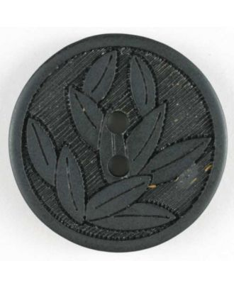 Black Embossed Leaves Button