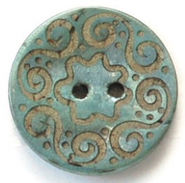 Blue Coconut Spirals Buttons