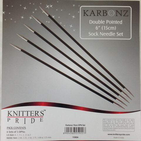 "Karbonz Double Pointed 6"" Needle Set"